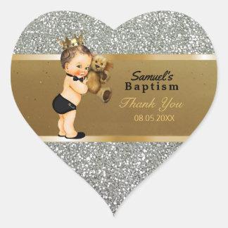 Baby Boy Baptism Thank You  Favor | Gold Silver Heart Sticker