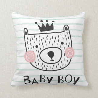 Baby boy bear throw pillow
