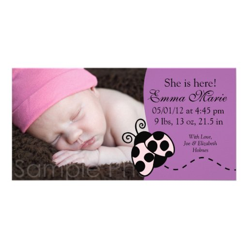 Baby Boy Birth Announcement in purple with ladybug Customized Photo Card
