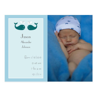 Baby Boy Birth Announcement Postcard with Whales