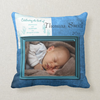 Baby Boy Birth Photo Keepsake Throw Pillow