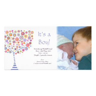 Baby Boy Birth Retro Tree Announcement Photocard Photo Card Template