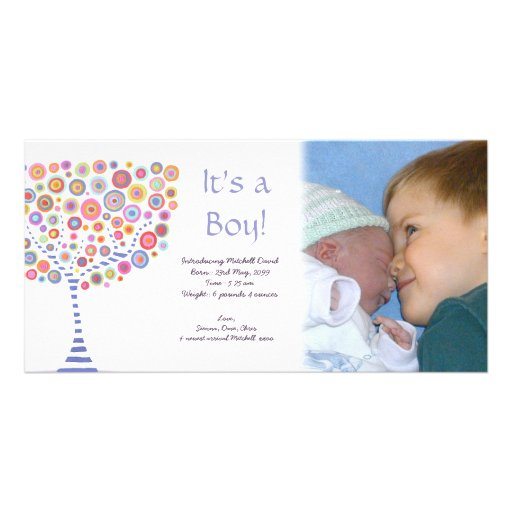 Baby Boy Birth Retro Tree Announcement Photocard Personalized Photo Card