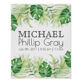 Baby Boy Birth Stats Tropical Green Palms Poster