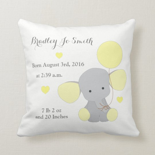 Baby Boy Birth Stats Yellow Grey Elephant Chevron Throw Pillow