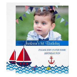Baby Boy, Birthday, Nautical, Custom Invitation