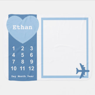 Baby Boy Blanket with Name Airplane Photo Blanket