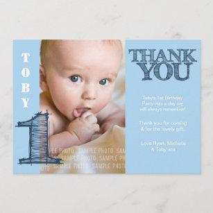 Baby Boy Blue 1st Birthday Thank You Photo Card