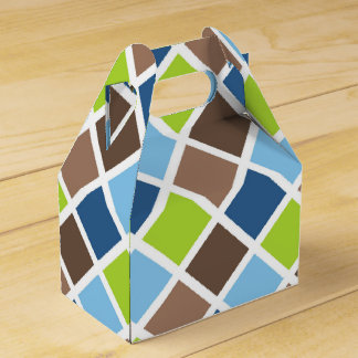 Baby Boy Blue and Green Squares Favor Box