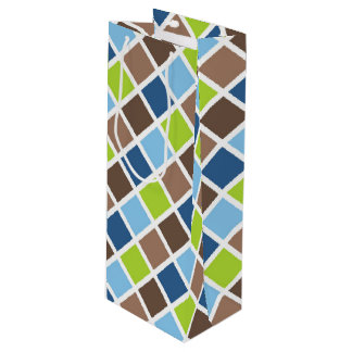 Baby Boy Blue and Green Squares Wine Gift Bag