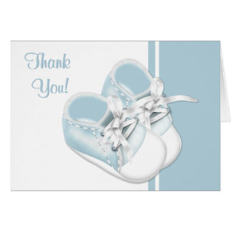 Baby Boy Blue Baby Shoes Thank You Cards