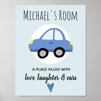 Baby Boy Blue Car Name Nursery Encouragement Poster