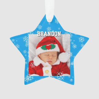 Baby Boy Blue Christmas Star Photo Ornament