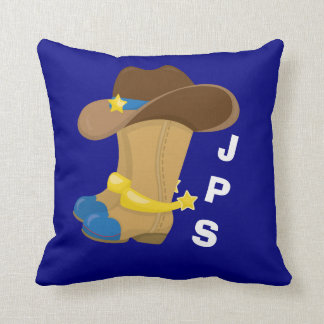 Baby Boy Blue Cowboy Boots Hat Western Customized Throw Pillow