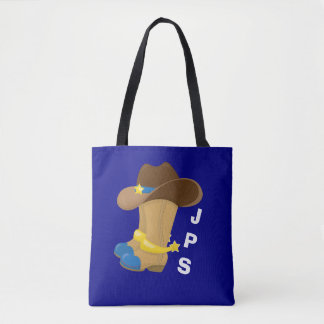 Baby Boy Blue Cowboy Boots Hat Western Customized Tote Bag
