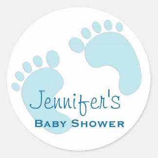 Baby Boy Blue Footprint Simple Shower Stickers
