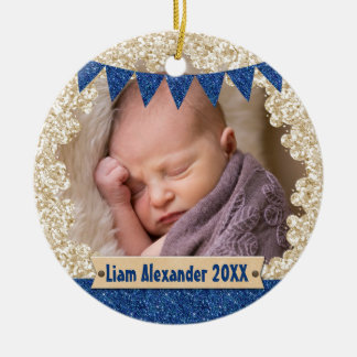 Baby Boy Blue Glitter Custom Photo Monogram Ceramic Ornament
