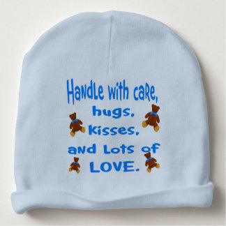 Baby Boy Blue Handle with Love beanie hat. Baby Beanie