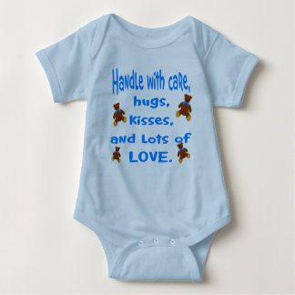 Baby Boy Blue Handle with Love outfit Baby Bodysuit