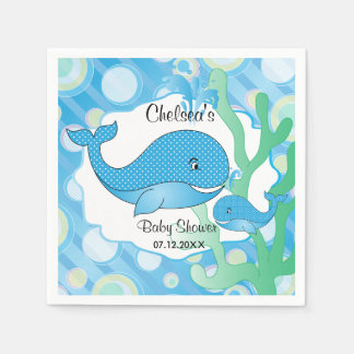 Baby Boy Blue Polka Dotted Whale Baby Shower Disposable Napkins