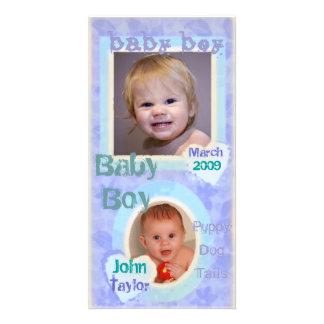 Baby Boy Blue Purple Vintage Photo Card