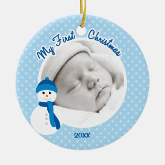 Baby Boy Blue Snowman First Christmas Photo Round Ceramic Ornament