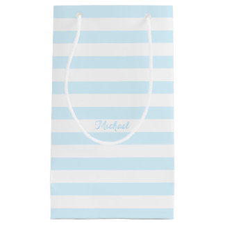 Baby Boy Blue Stripes Custom Name Party Gift Bags