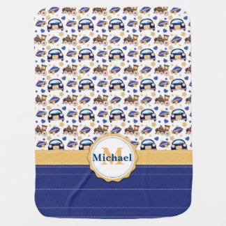 Baby Boy Blue Travels Monogram Blanket Swaddle Blanket