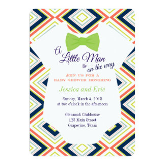 "Baby Boy Bow Tie Onsie with Colorful Design 5"" X 7"" Invitation Card"
