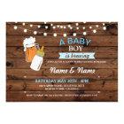 Baby Boy Brewing Shower Beers Blue Wood Invite