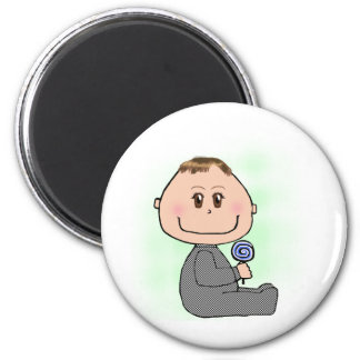 Baby boy- brown hair and eyes 2 inch round magnet