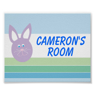 Baby Boy Bunny Personalized Poster