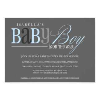 "Baby Boy | Charcoal 5"" X 7"" Invitation Card"