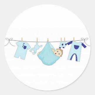 Baby Boy Clothes Line Classic Round Sticker
