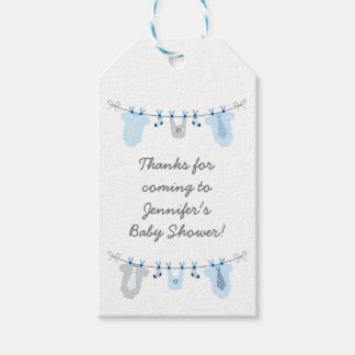 Baby Boy Clothesline Baby Shower Pack Of Gift Tags