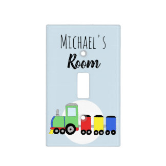 Baby Boy Colorful Locomotive Train & Name Nursery Light Switch Cover