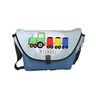 Baby Boy Colorful Train with Name Diaper Courier Bags