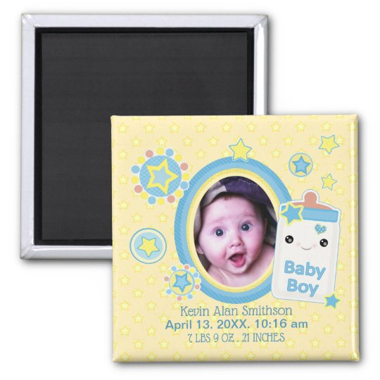 Baby Boy Custom Birth Announcement Magnet