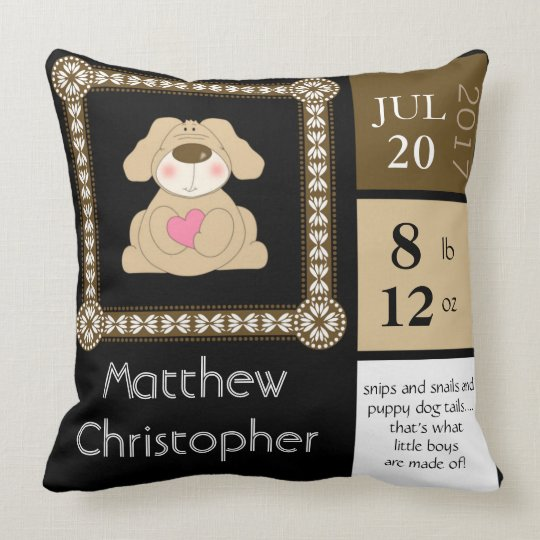 Baby Boy, Customized Keepsake Pillow, Puppy, Heart Throw Pillow