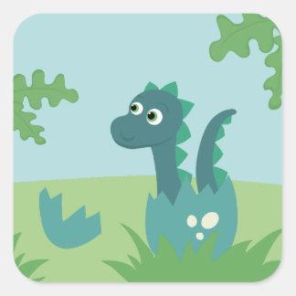 Baby boy dinosaur in egg sticker. square sticker