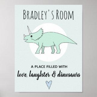 Baby Boy Doodle Dinosaur Triceratops Name Nursery Poster