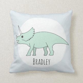 Baby Boy Doodle Dinosaur with Name Nursery Throw Pillow
