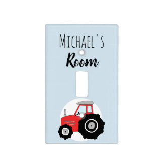Baby Boy Doodle Red Farm Tractor with Name Nursery Light Switch Cover