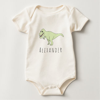 Baby Boy Doodle T-Rex Dinosaur with Name Baby Bodysuit