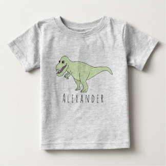 Baby Boy Doodle T-Rex Dinosaur with Name Baby T-Shirt