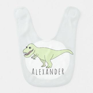 Baby Boy Doodle T-Rex Dinosaur with Name Bib