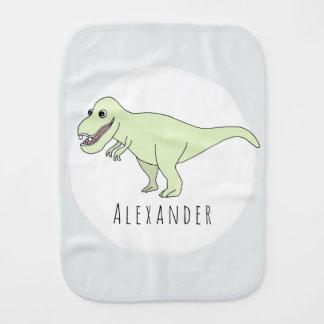 Baby Boy Doodle T-Rex Dinosaur with Name Burp Cloth