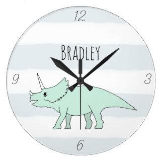 Baby Boy Doodle Triceratops Dinosaur Name Nursery Large Clock