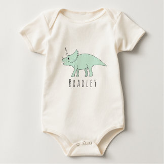 Baby Boy Doodle Triceratops Dinosaur with Name Baby Bodysuit