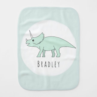 Baby Boy Doodle Triceratops Dinosaur with Name Burp Cloth